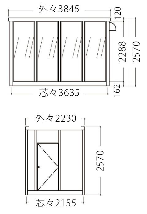 屋外喫煙室立面図2