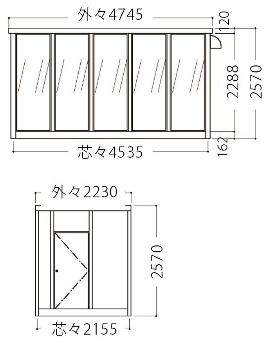 屋外喫煙室立面図3